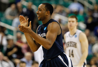 GREENSBORO, NC - MARCH 16:  Dezmine Wells #5 of the Xavier Musketeers reacts while taking on the Notre Dame Fighting Irish during the second round of the 2012 NCAA Men's Basketball Tournament at Greensboro Coliseum on March 16, 2012 in Greensboro, North C