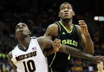 KANSAS CITY, MO - MARCH 10:  Ricardo Ratliffe #10 of the Missouri Tigers and Perry Jones III #1 of the Baylor Bears vie for position during the championship game of the 2012 Big 12 Men's Basketball Tournament at Sprint Center on March 10, 2012 in Kansas C
