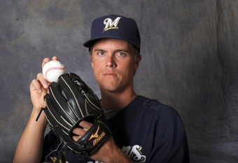 MARYVALE, AZ - FEBRUARY 26:  Zack Greinke #13 of the Milwaukee Brewers poses for a portrait during a photo day at Maryvale Baseball Park on February 26, 2012 in Maryvale, Arizona. (Photo by Rich Pilling/Getty Images)