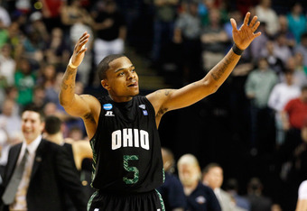 NASHVILLE, TN - MARCH 18:  D.J. Cooper #5 of the Ohio Bobcats reacts after a play against the South Florida Bulls during the third round of the 2012 NCAA Men's Basketball Tournament at Bridgestone Arena on March 18, 2012 in Nashville, Tennessee.  (Photo b