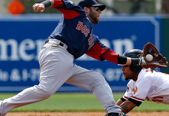 SARASOTA, FL - MARCH 11:  Infielder Robert Andino #11 of the Baltimore Orioles steals second base as infielder Dustin Pedroia #15 of the Boston Red Sox cannot handle the throw during a Grapefruit League Spring Training Game at Ed Smith Stadium on March 11