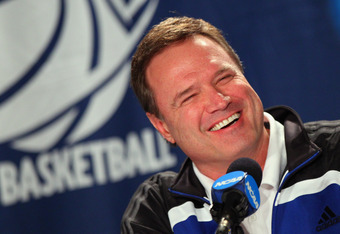 OMAHA, NE - MARCH 15:  Head coach Bill Self of the Kansas Jayhawks addresses the media during a press conference as the Jayhawks prepare to face Detroit in the second round of the NCAA Men's Basketball Tournament at CenturyLink Center on March 15, 2012 in
