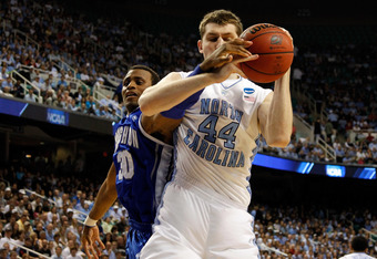 GREENSBORO, NC - MARCH 18:  Tyler Zeller #44 of the North Carolina Tar Heels battles for a rebound with Antoine Young #30 of the Creighton Bluejays in the second half during the third round of the 2012 NCAA Men's Basketball Tournament at Greensboro Colise