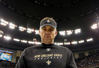 NEW ORLEANS, LA - JANUARY 07:  Head coach Sean Payton of the New Orleans Saints walks of the field after defeating the Detroit Lions by a score of 45-28at Mercedes-Benz Superdome during their 2012 NFC Wild Card Playoff game on January 7, 2012 in New Orlea