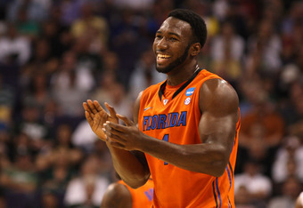 PHOENIX, AZ - MARCH 22:  Patric Young #4 of the Florida Gators reacts in the first half while taking on the Marquette Golden Eagles during the 2012 NCAA Men's Basketball West Regional Semifinal game at US Airways Center on March 22, 2012 in Phoenix, Arizo