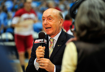 CHAPEL HILL, NC - JANUARY 26:  ESPN broadcaster Dick Vitale does a live broadcast before a game between  the North Carolina Tar Heels and the North Carolina State Wolfpack  at the Dean Smith Center on January 26, 2012 in Chapel Hill, North Carolina. North
