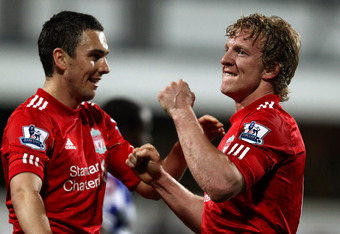 LONDON, ENGLAND - MARCH 21:  Dirk Kuyt of Liverpoo of Liverpool celebrates scoring a goal during the Barclays Premier League match between Queens Park Rangers and Liverpool at Loftus Road on March 21, 2012 in London, England.  (Photo by Ian Walton/Getty I