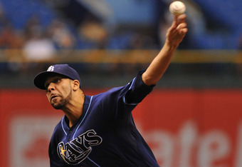 ST. PETERSBURG, FL - SEPTEMBER 07:  Pitcher David Price #14 of the Tampa Bay Rays starts against the Texas Rangers September 7, 2011 at Tropicana Field in St. Petersburg, Florida. (Photo by Al Messerschmidt/Getty Images)