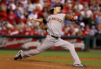 PHILADELPHIA - OCTOBER 23:  Tim Lincecum #55 of the San Francisco Giants pitches against the Philadelphia Phillies in Game Six of the NLCS during the 2010 MLB Playoffs at Citizens Bank Park on October 23, 2010 in Philadelphia, Pennsylvania.  (Photo by Al