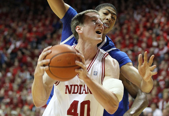 BLOOMINGTON, IN - DECEMBER 10:  Cody Zeller #40 of the Indiana Hoosiers shoots the ball while defended by Anthony Davis #23  of the Kentucky Wildcats during the Indiana 73-72 victory at Assembly Hall on December 10, 2011 in Bloomington, Indiana.  (Photo b