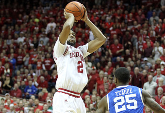 BLOOMINGTON, IN - DECEMBER 10:  Christian Watford #2 of the Indiana Hoosiers shoots the ball during the Indiana 73-72 victory over the Kentucky Wildcats at Assembly Hall on December 10, 2011 in Bloomington, Indiana.  (Photo by Andy Lyons/Getty Images)