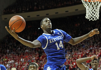 BLOOMINGTON, IN - DECEMBER 10:  Michael Kidd-Gilchrist #14 of the Kentucky Wildcats grabs a rebound during the game against the Indiana Hoosiers at Assembly Hall on December 10, 2011 in Bloomington, Indiana.  (Photo by Andy Lyons/Getty Images)