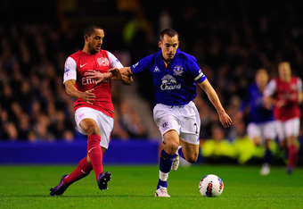 LIVERPOOL, ENGLAND - MARCH 21:  Arsenal player Theo Walcott is beaten to the ball by Leon Osman during the Barclays Premier League match between Everton v Arsenal at Goodison Park on March 21, 2012 in Liverpool, England.  (Photo by Stu Forster/Getty Image