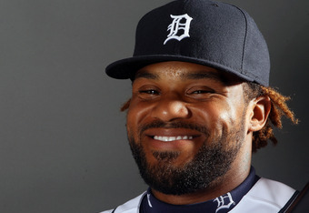 LAKELAND, FL - FEBRUARY 28:  Prince Fielder #28 of the Detroit Tigers poses for a portrait on February 28, 2012 at Joker Marchant Staduim in Lakeland, Florida.  (Photo by Elsa/Getty Images)