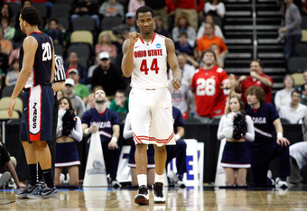 PITTSBURGH, PA - MARCH 17:  William Buford #44 of the Ohio State Buckeyes reacts against the Gonzaga Bulldogs during the third round of the 2012 NCAA Men's Basketball Tournament at Consol Energy Center on March 17, 2012 in Pittsburgh, Pennsylvania.  (Phot
