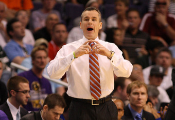 PHOENIX, AZ - MARCH 22:  Head coach Billy Donovan of the Florida Gators reacts while taking on the Marquette Golden Eagles during the 2012 NCAA Men's Basketball West Regional Semifinal game at US Airways Center on March 22, 2012 in Phoenix, Arizona.  (Pho