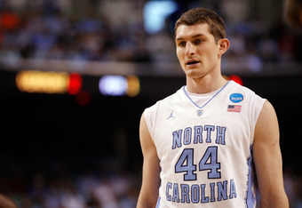 GREENSBORO, NC - MARCH 16:  Tyler Zeller #44 of the North Carolina Tar Heels looks on against the Vermont Catamounts during the second round of the 2012 NCAA Men's Basketball Tournament at Greensboro Coliseum on March 16, 2012 in Greensboro, North Carolin