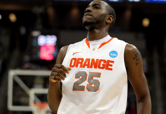 PITTSBURGH, PA - MARCH 15:  Rakeem Christmas #25 of the Syracuse Orange reacts after a play against the UNC Asheville Bulldogs during the second round of the 2012 NCAA Men's Basketball Tournament at Consol Energy Center on March 15, 2012 in Pittsburgh, Pe