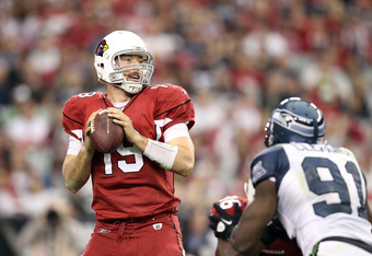 GLENDALE, AZ - JANUARY 01:  Quarterback John Skelton #19 of the Arizona Cardinals drops back to pass during the NFL game against the Seattle Seahawks at the University of Phoenix Stadium on January 1, 2012 in Glendale, Arizona.  The Cardinals defeated the