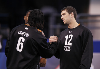 INDIANAPOLIS, IN - FEBRUARY 26: Quarterbacks Andrew Luck of Stanford and Robert Griffin III of Baylor meet during the 2012 NFL Combine at Lucas Oil Stadium on February 26, 2012 in Indianapolis, Indiana. (Photo by Joe Robbins/Getty Images)
