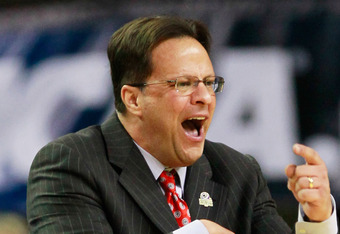 ATLANTA, GA - MARCH 23:  Head coach Tom Crean of the Indiana Hoosiers reacts in the first half against the Kentucky Wildcats during the 2012 NCAA Men's Basketball South Regional Semifinal game at the Georgia Dome on March 23, 2012 in Atlanta, Georgia.  (P