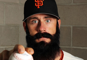 SCOTTSDALE, AZ - MARCH 01:  Brian Wilson #38 of the San Francisco Giants poses during spring training photo day on March 1, 2012 in Scottsdale, Arizona.  (Photo by Jamie Squire/Getty Images)