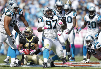 Although he is doing so here, Terrell McClain did not have much to celebrate about in 2011.