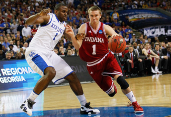 ATLANTA, GA - MARCH 23:  Jordan Hulls #1 of the Indiana Hoosiers drives against Darius Miller #1 of the Kentucky Wildcats during the 2012 NCAA Men's Basketball South Regional Semifinal game at the Georgia Dome on March 23, 2012 in Atlanta, Georgia.  (Phot