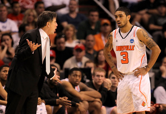 PHOENIX, AZ - MARCH 24:  Head coach Rick Pitino yells over at Peyton Siva #3 of the Louisville Cardinals in the second half against the Florida Gators during the 2012 NCAA Men's Basketball West Regional Final at US Airways Center on March 24, 2012 in Phoe