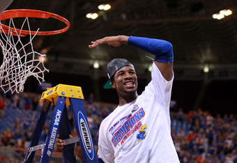 ST LOUIS, MO - MARCH 25:  Thomas Robinson #0 of the Kansas Jayhawks celebrates after they won 80-67 against the North Carolina Tar Heels during the 2012 NCAA Men's Basketball Midwest Regional Final at Edward Jones Dome on March 25, 2012 in St Louis, Misso