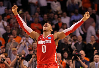 BOSTON, MA - MARCH 24:  Jared Sullinger #0 of the Ohio State Buckeyes celebrates after defeating the Syracuse Orange during the 2012 NCAA Men's Basketball East Regional Final at TD Garden on March 24, 2012 in Boston, Massachusetts.  (Photo by Jim Rogash/G