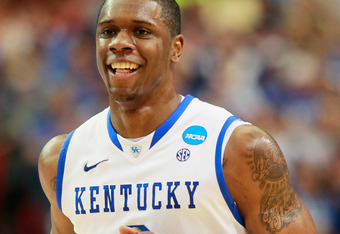 ATLANTA, GA - MARCH 25:  Terrence Jones #3 of the Kentucky Wildcats reacts in the first half against the Baylor Bears during the 2012 NCAA Men's Basketball South Regional Final at the Georgia Dome on March 25, 2012 in Atlanta, Georgia.  (Photo by Kevin C.