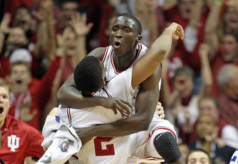 BLOOMINGTON, IN - DECEMBER 10:  Christian Watford #9 and Victor Oladipo #1 of the Indiana Hoosiers celebrate after Watford made a buzzer beating 3 point shot to beat the Kentucky Wildcats 73-72 in the game at Assembly Hall on December 10, 2011 in Blooming