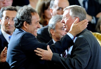 ROME - MAY 27: (L to R) Uefa president Michel Platini, and Manchester United manager Sir Alex Ferguson during the UEFA Champions League Final match between Barcelona and Manchester United at the Stadio Olimpico on May 27, 2009 in Rome, Italy. (Photo by Cl