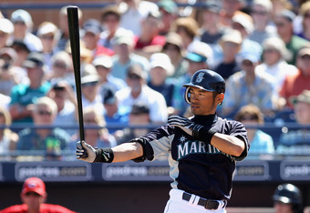 PEORIA, AZ - MARCH 06:  Ichiro Suzuki #51 of the Seattle Mariners bats against the Cincinnati Reds during the spring training game at Peoria Stadium on March 6, 2012 in Peoria, Arizona.  (Photo by Christian Petersen/Getty Images)