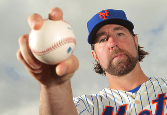 PORT ST. LUCIE, FL - MARCH 02:  Pitcher R.A. Dickey #43 of the New York Mets poses for photos during MLB photo day on March 2, 2012 in Port St. Lucie, Florida.  (Photo by Marc Serota/Getty Images)