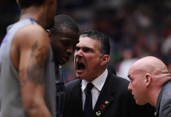 TUCSON, AZ - MARCH 17:  Head coach Frank Martin talks to Curtis Kelly #24 of the Kansas State Wildcats  during their game against the Utah State Aggies in the second round of the 2011 NCAA men's basketball tournament at McKale Center on March 17, 2011 in