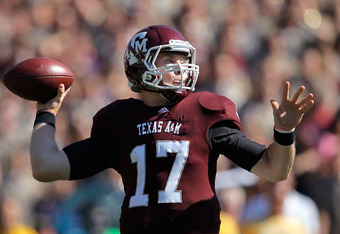 COLLEGE STATION, TX - OCTOBER 29:  Ryan Tannehill #17 of the Texas A&M Aggies looks to pass during a game against the Missouri Tigers at Kyle Field on October 29, 2011 in College Station, Texas.  (Photo by Sarah Glenn/Getty Images)