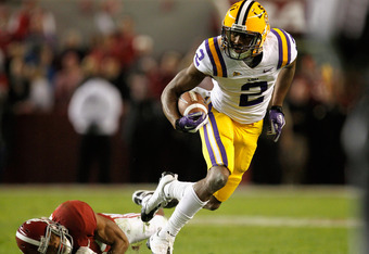 TUSCALOOSA, AL - NOVEMBER 05:  Rueben Randle #2 of the LSU Tigers gets away from a defender for Alabama during the second half of the game at Bryant-Denny Stadium on November 5, 2011 in Tuscaloosa, Alabama.  (Photo by Streeter Lecka/Getty Images)