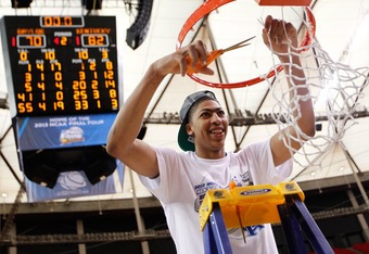 ATLANTA, GA - MARCH 25:  Anthony Davis #23 of the Kentucky Wildcats cuts down the net after they defeated the Baylor Bears 82 to 70 during the 2012 NCAA Men's Basketball South Regional Final at the Georgia Dome on March 25, 2012 in Atlanta, Georgia.  (Pho