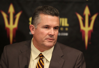 TEMPE, AZ - DECEMBER 14:  Head coach Todd Graham of the Arizona State Sun Devils speaks at a press conference introducing him as the new head football coach at Sun Devil Stadium on December 14, 2011 in Tempe, Arizona.  (Photo by Christian Petersen/Getty I