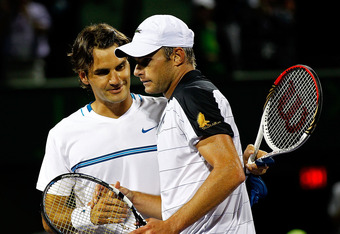 KEY BISCAYNE, FL - MARCH 26:  Andy Roddick reacts to beating Roger Federer of Switzerland during Day 8 of the Sony Ericsson Open at Crandon Park Tennis Center on March 26, 2012 in Key Biscayne, Florida.  (Photo by Mike Ehrmann/Getty Images)