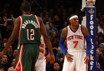 Melo's groin strain is clearly causing him discomfort.