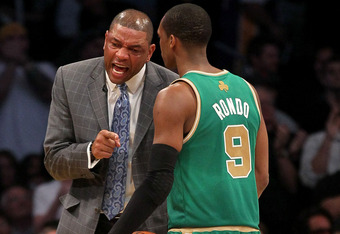 LOS ANGELES, CA - MARCH 11: Head coach Doc Rivers of the Boston Celtics talks with Rajon Rondo #5 during the game against the Los Angeles Lakers at Staples Center on March 11, 2012 in Los Angeles, California.  The Lakers won 97-94.  NOTE TO USER: User exp