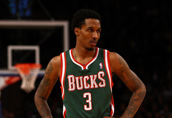 NEW YORK, NY - MARCH 26:  Brandon Jennings #3 of the Milwaukee Bucks looks on in the second half against the New York Knicks at Madison Square Garden on March 26, 2012 in New York City. NOTE TO USER: User expressly acknowledges and agrees that, by downloa
