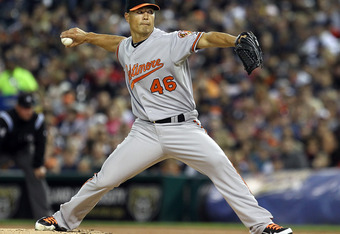 DETROIT, MI - SEPTEMBER 24:  Jeremy Guthrie #46 of the Baltimore Orioles pitches against the Detroit Tigers during a MLB game at Comerica Park on September 24, 2011 in Detroit, Michigan.  (Photo by Dave Reginek/Getty Images)