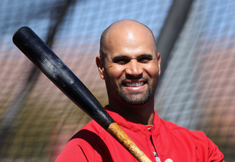 TEMPE, AZ - MARCH 10:  Albert Pujols #5 of the Los Angeles Angels of Anaheim takes batting practice before the spring training game against the San Francisco Giants at Tempe Diablo Stadium on March 10, 2012 in Tempe, Arizona.  (Photo by Christian Petersen