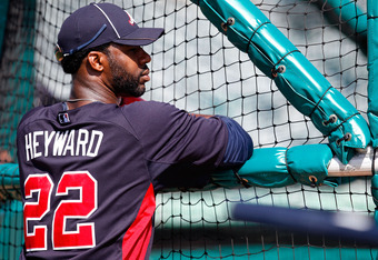 JUPITER, FL - MARCH 13:  Jason Heyward #22 of the Atlanta Braves looks on during batting practice before a game against the Miami Marlins at Roger Dean Stadium on March 13, 2012 in Jupiter, Florida.  (Photo by Sarah Glenn/Getty Images)
