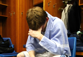 A dejected Stillman White after the loss to Kansas