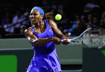KEY BISCAYNE, FL - MARCH 27:  Serena Williams of the USA in action during her match against Caroline Wozniacki of Denmark on day 9 of the Sony Ericsson Open at Crandon Park Tennis Center on March 27, 2012 in Key Biscayne, Florida.  (Photo by Michael Regan